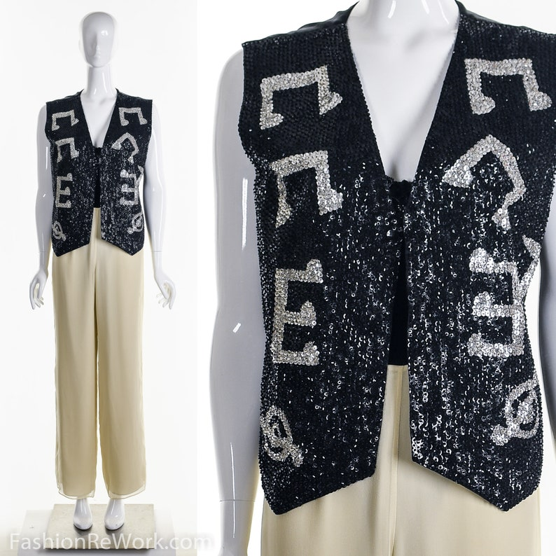 2c4768b3bf5 Music Sequin Vest Musical Note Vest Heavily Beaded and