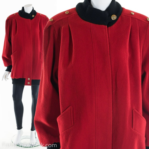 Red Wool Coat, Vintage Wool Coat, Winter Coat, 80'
