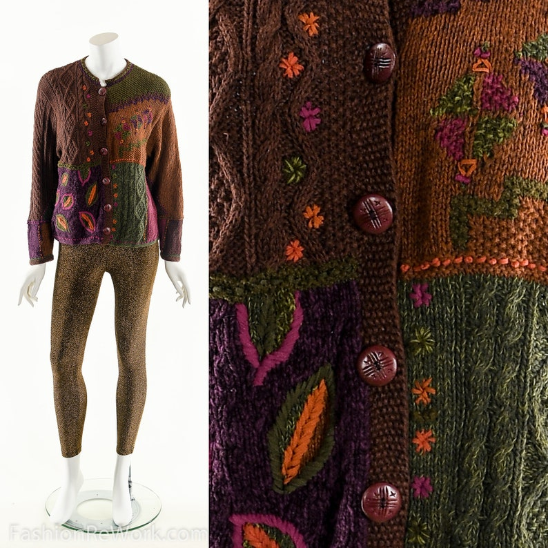 Jewel Tone SweaterEarthy Patchwork SweaterVintage Sweater image 0