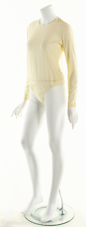 Donna Karan Bodysuit, Cream White Bodysuit, Silk … - image 8