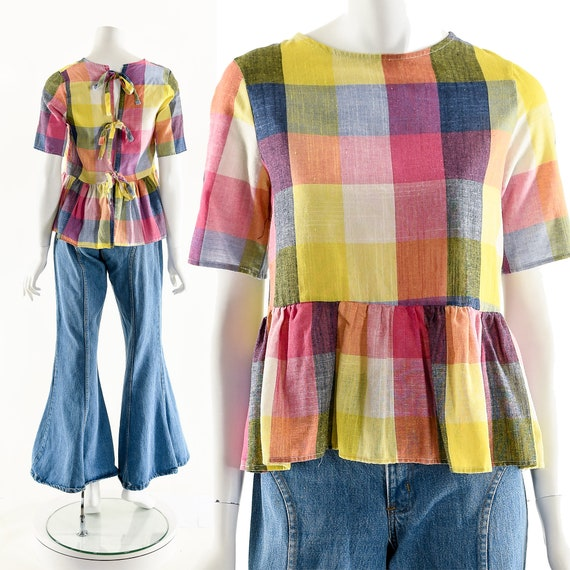 RAINBOW Apron Blouse,Plaid Madras Top,Multicolored