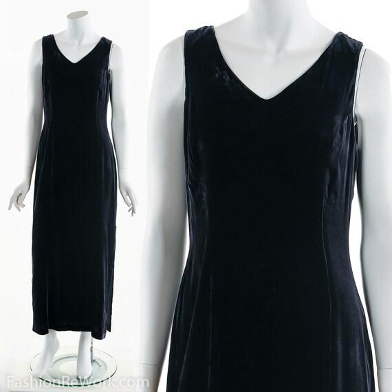 Black Purple Velvet Dress, Long Velvet Dress, Even