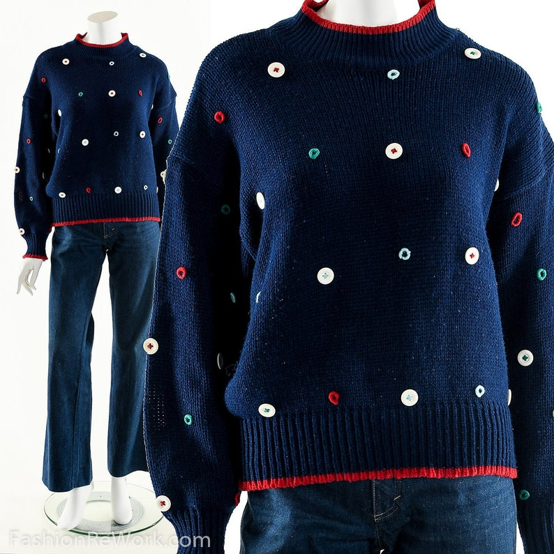 Blue Button SweaterEmbroidered Wool SweaterFunky Button image 0