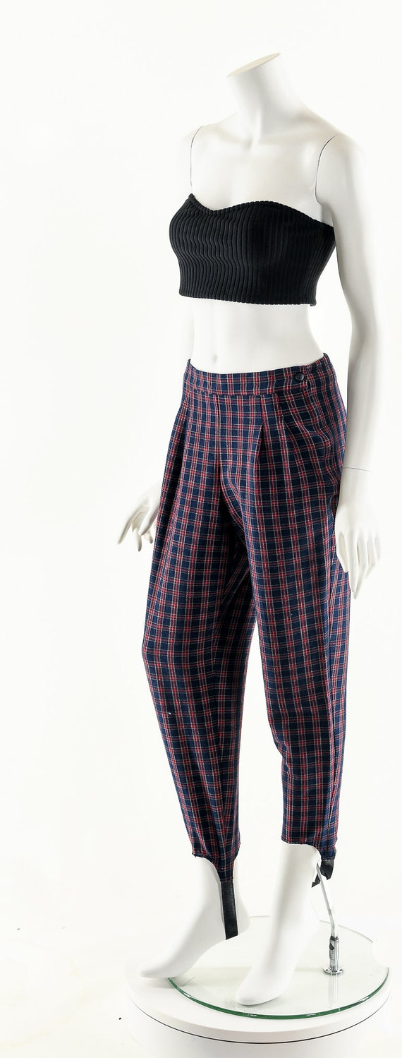 Plaid High Waist Pants,Vintage 80's Pants,Preppy … - image 10