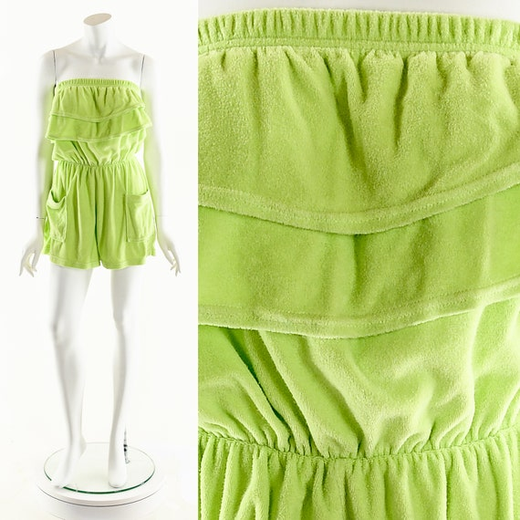 Lime Green Romper,Vintage Terry Cloth Swimsuit Cov