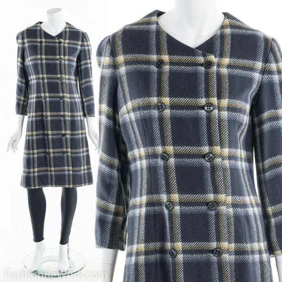 Plaid Wool Coat, Double Breasted Coat, 60's Coat,… - image 2