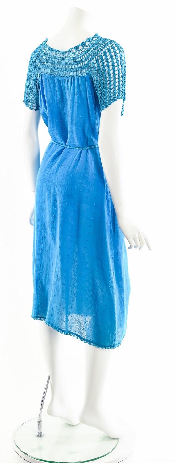 Blue India Gauze Dress,Turquoise India Cotton Dre… - image 6