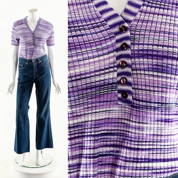 Purple Spacedye Knit Top,Vintage Space Dye Sweater