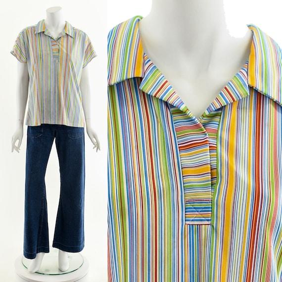 Fruit Striped Blouse,Rainbow Stripe Blouse,Vintag… - image 1