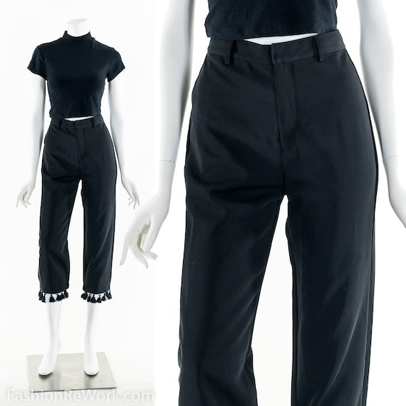 Tassel Dress Pants, Vintage Black Pants, Capri Fri