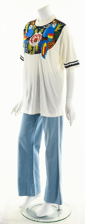 Patchwork T-Shirt, Vintage Patchwork Tee, Tropica… - image 8