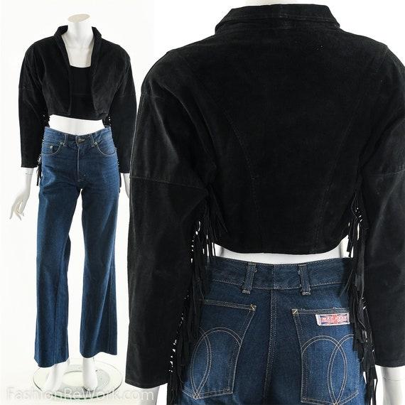 Leather Fringe Jacket,Black Suede Jacket,Boho Frin