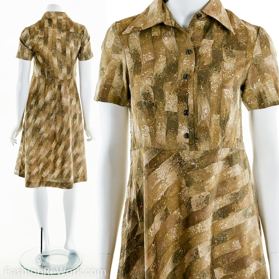 Marble Print Dress, 60's Gold Dress, Mod Dress, Do