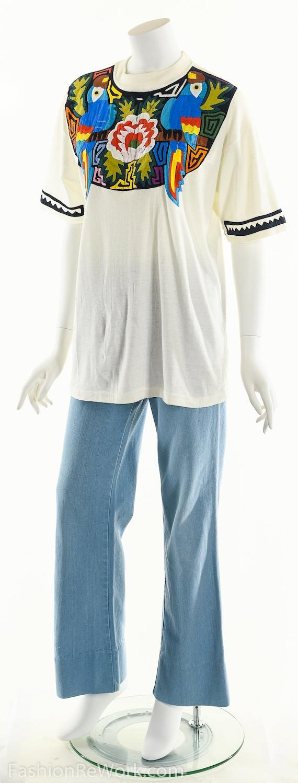 Patchwork T-Shirt, Vintage Patchwork Tee, Tropica… - image 9