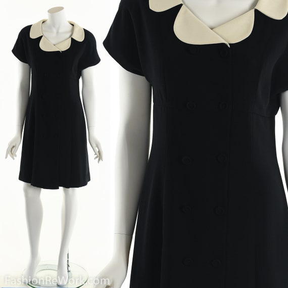 Peter Pan Dress, Peter Pan Collar Dress, Black Tux