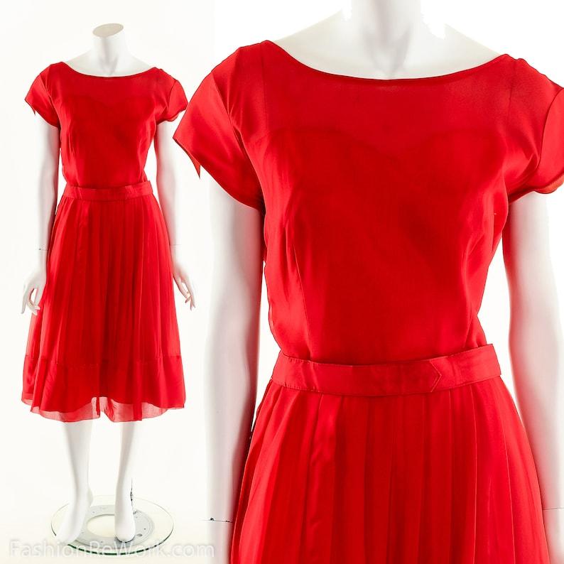 Red Silk Dress50s Silk Chiffon DressFit and Flare image 0