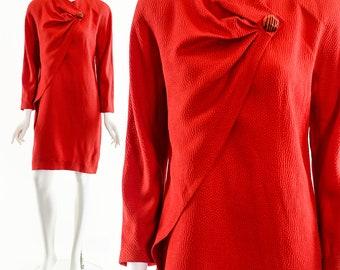 Krizia 40 Italian Red Dress,Vintage 80's Krizia Dress,Red Silk Krizia Dress,Asymmetric Drape Dress,Silk Dolman Dress,Krizia Wool Silk Dress