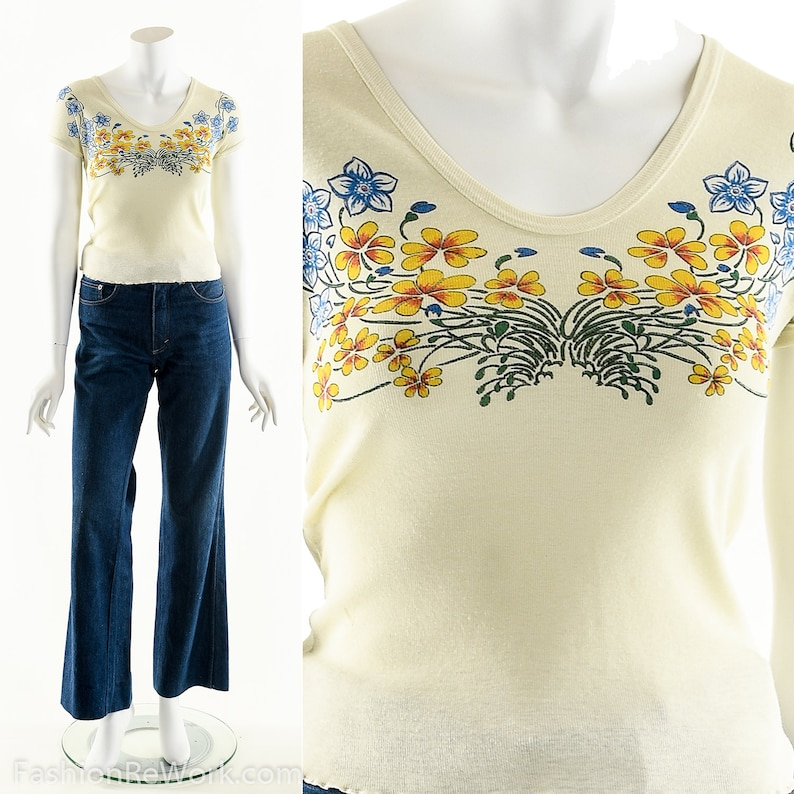 BUTTERFLY Flower Baby Tee 60s Flower Power T-Shirt Yellow image 0