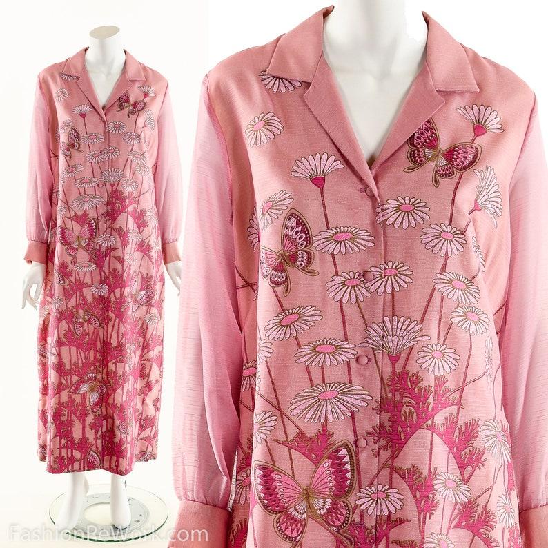 Pink Daisy Butterfly DressAlfred Shaheen DressVintage Alfred image 0