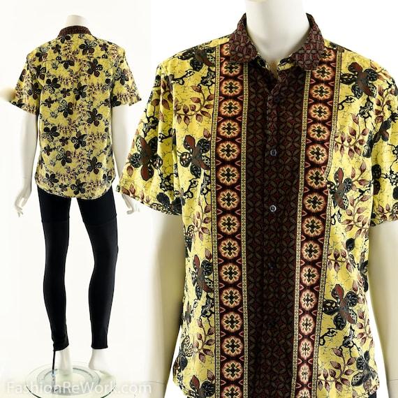 Batik Button Down Top, Floral Batik Top, Tile Prin