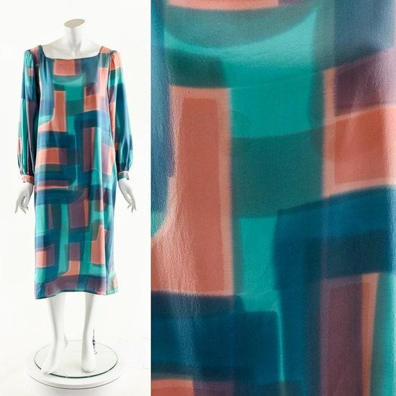 Hand Painted Silk Dress,Vintage Silk Kaftan,Wearab