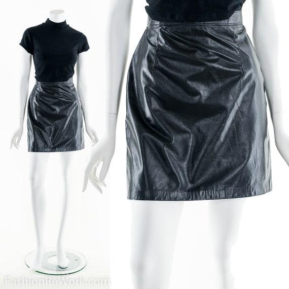 Black Leather Skirt,Leather Mini Skirt,Leather Ski