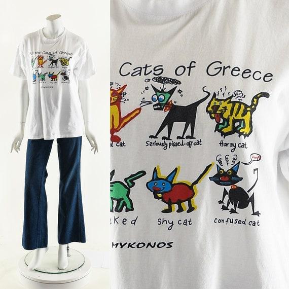 Funny Greek Cats Tshirt,Vintage Cat Tee,Travel Tou