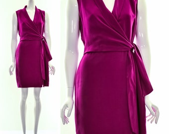 90s Minimalist Silk Wrap Dress