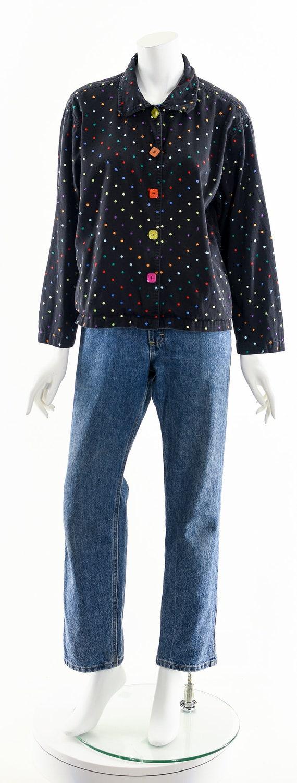 Black Rainbow Jacket,Embroidered Multicolored Jac… - image 4