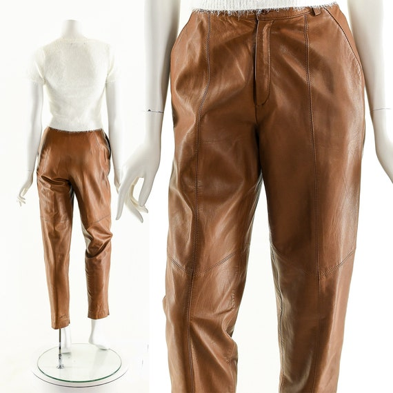 Soft Leather Pants,Chevron Patchwork Leather Pants