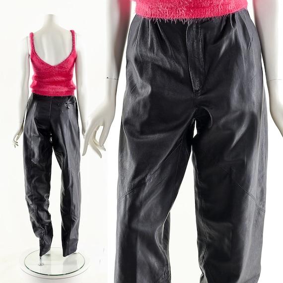 Dark Purple Leather Pants,High Waist Leather Pants