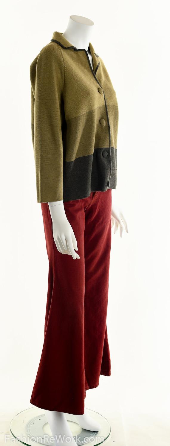 50's Italian Wool Sweater, Striped Wool Cardigan,… - image 3