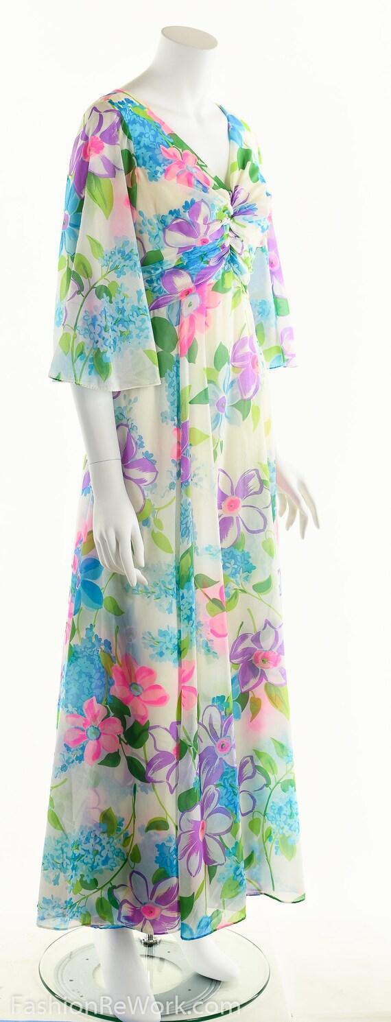 Chiffon Maxi Dress, Dreamy Floral Chiffon Dress, … - image 2