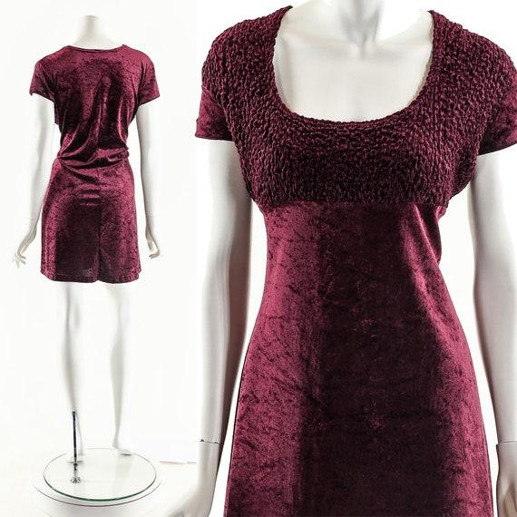 90s Oxblood Dress,Baby Doll Dress,Vintage Babydoll