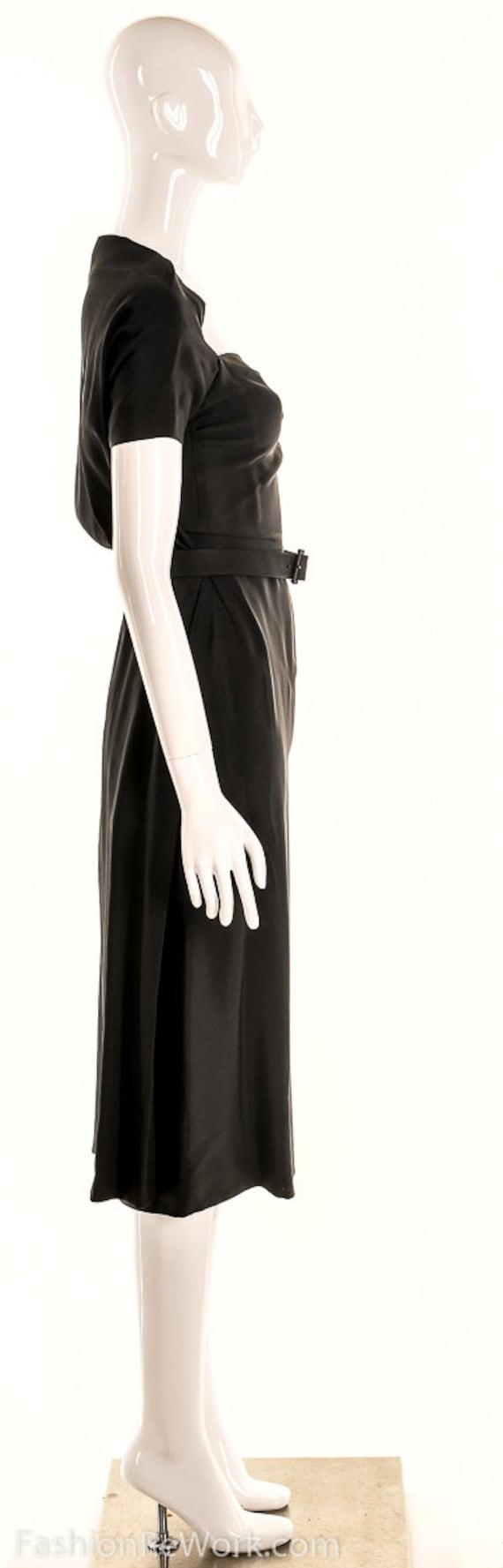 Vintage 40s Black Pencil Dress,40s Va Va Voom Dre… - image 3