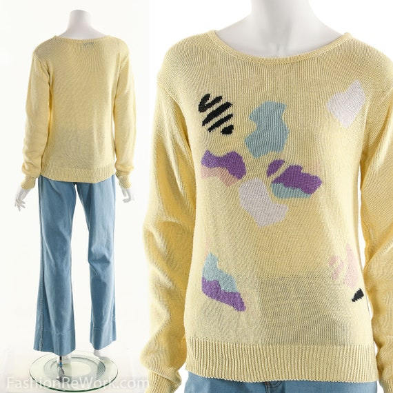OLEG CASSINI Sweater, Yellow Sweater, Abstract Swe