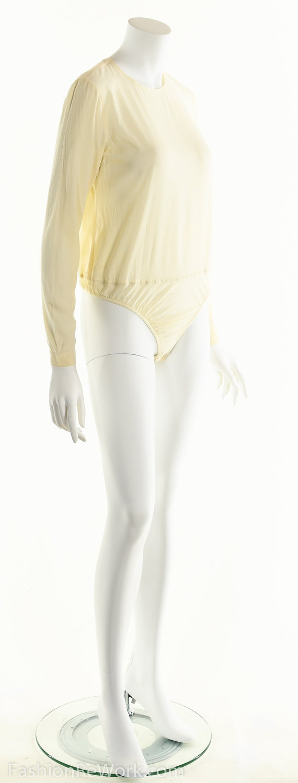 Donna Karan Bodysuit, Cream White Bodysuit, Silk … - image 4
