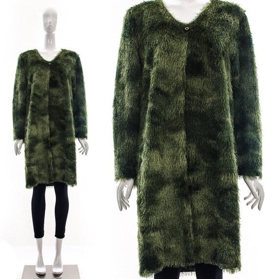 Vintage 90s minimalist shag duster coat OMBRE Oliv