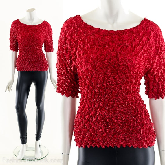 Red Popcorn Blouse,90s Vintage Blouse,Micropleat … - image 3