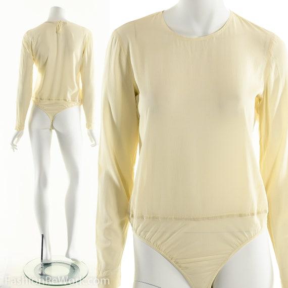 Donna Karan Bodysuit, Cream White Bodysuit, Silk … - image 2