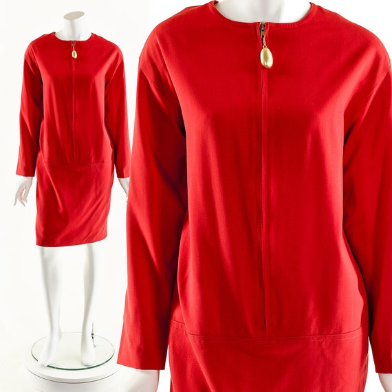 Red Wool Dress,Vintage Plus Size Dress,Red Hot Plu