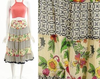 Mixed Print Chiffon Skirt,Bohemian Tiered Ruffle Skirt,Boho Ruffle Skirt,Romantic Floral Skirt,Adjusatable Waist Skirt,90s Boho Skirt,
