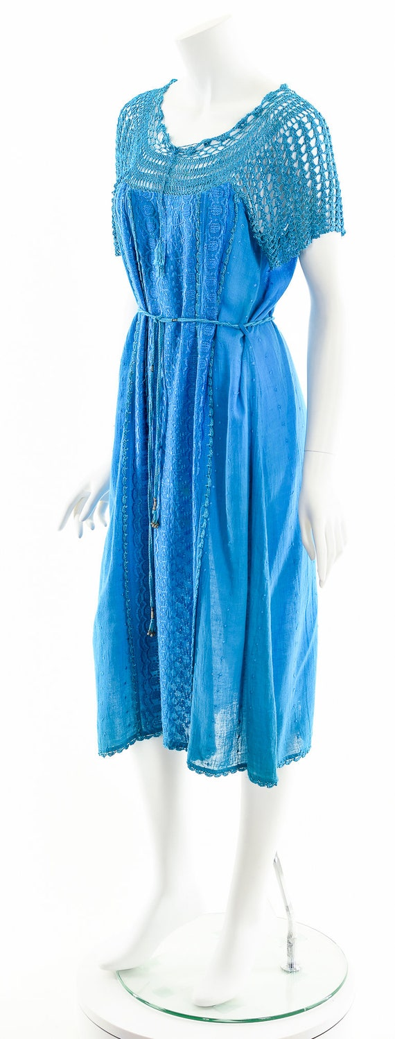 Blue India Gauze Dress,Turquoise India Cotton Dre… - image 10