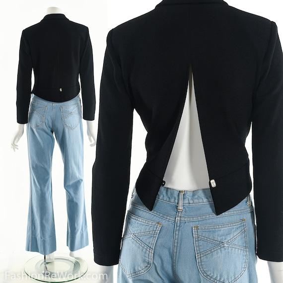 Black Cropped Jacket, Peakaboo Jacket, 90's Jacket