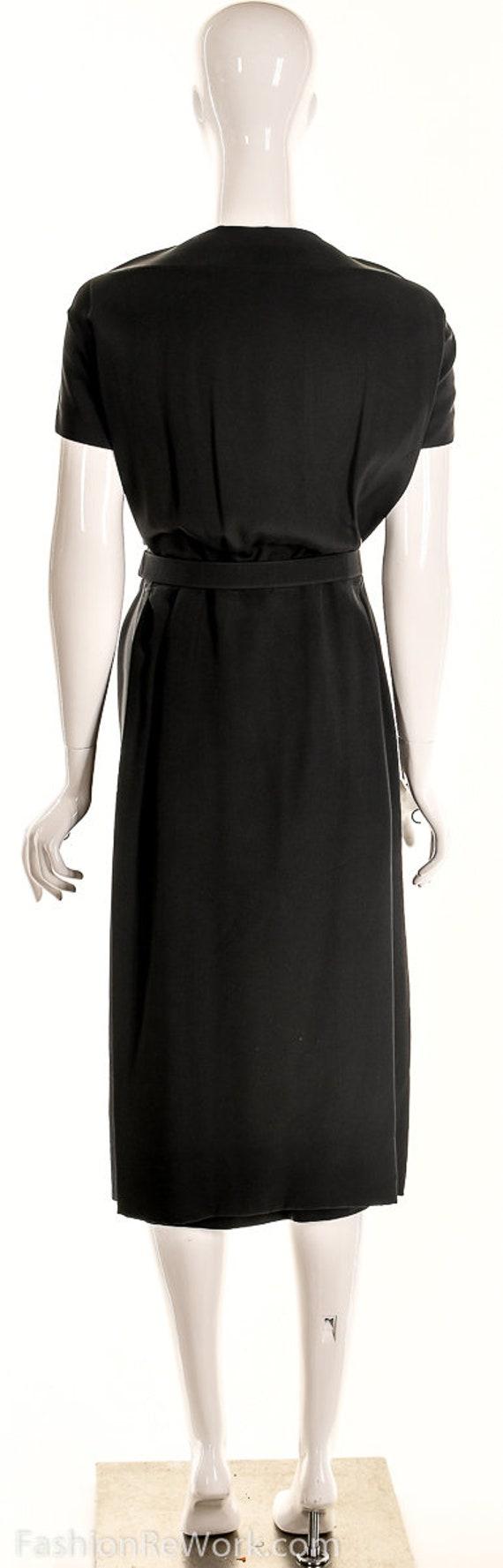 Vintage 40s Black Pencil Dress,40s Va Va Voom Dre… - image 7