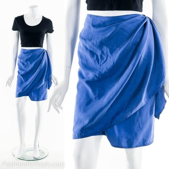 Silk Wrap Skirt, Blue Silk Skirt, Vintage Skirt, D