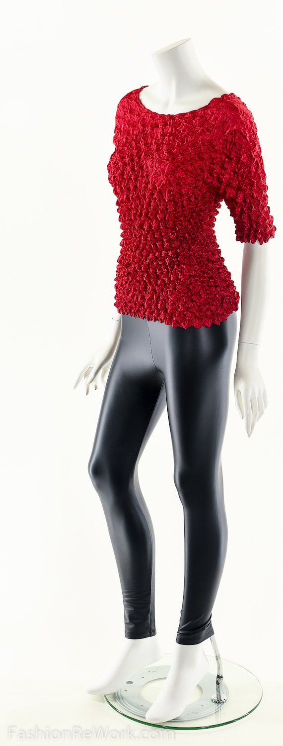 Red Popcorn Blouse,90s Vintage Blouse,Micropleat … - image 8