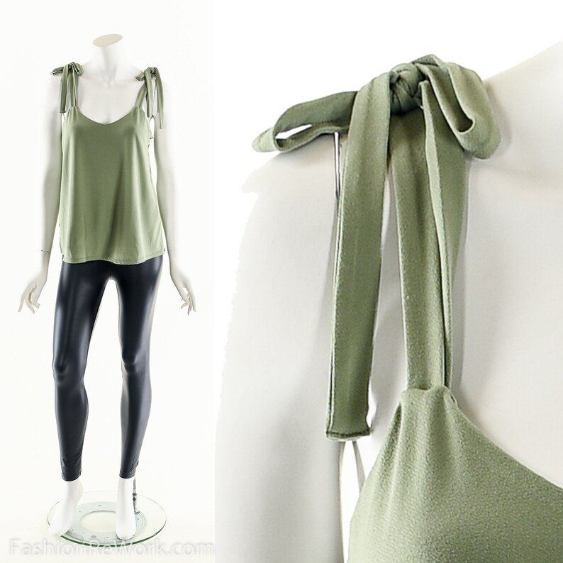 Bow Tie TankDrapy Bow TopSage Green Blouse90s Minimalist image 0