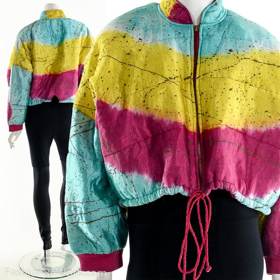 Neon Quilted Bomber, Spray Paint Jacket, Puffy Win