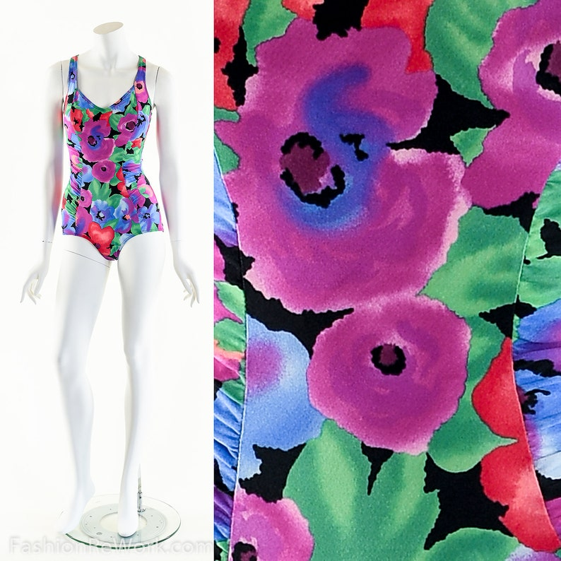 Neon Tropical SwimsuitVintage 80s SwimsuitTropical Resort image 0